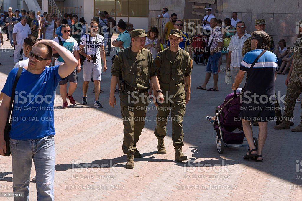 Odesa, Ukraine - July 03, 2016: Soldier of Ukrainian National stock photo