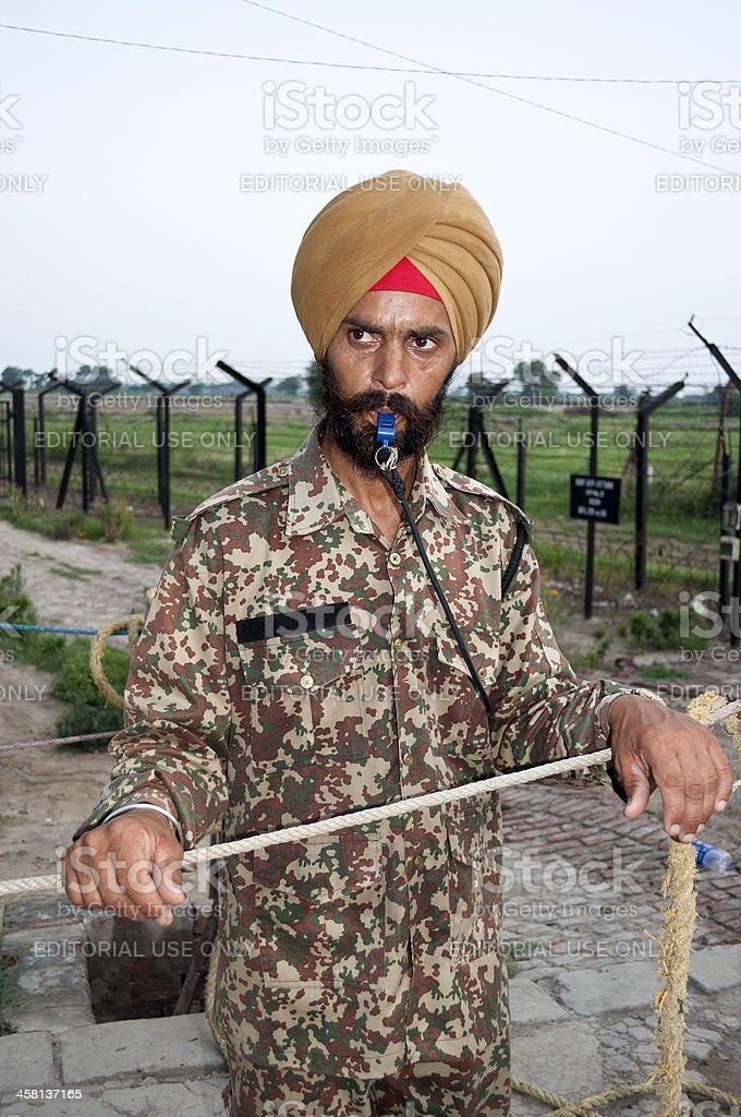 Soldier on India-Pakistan Border Wagah Punjab royalty-free stock photo