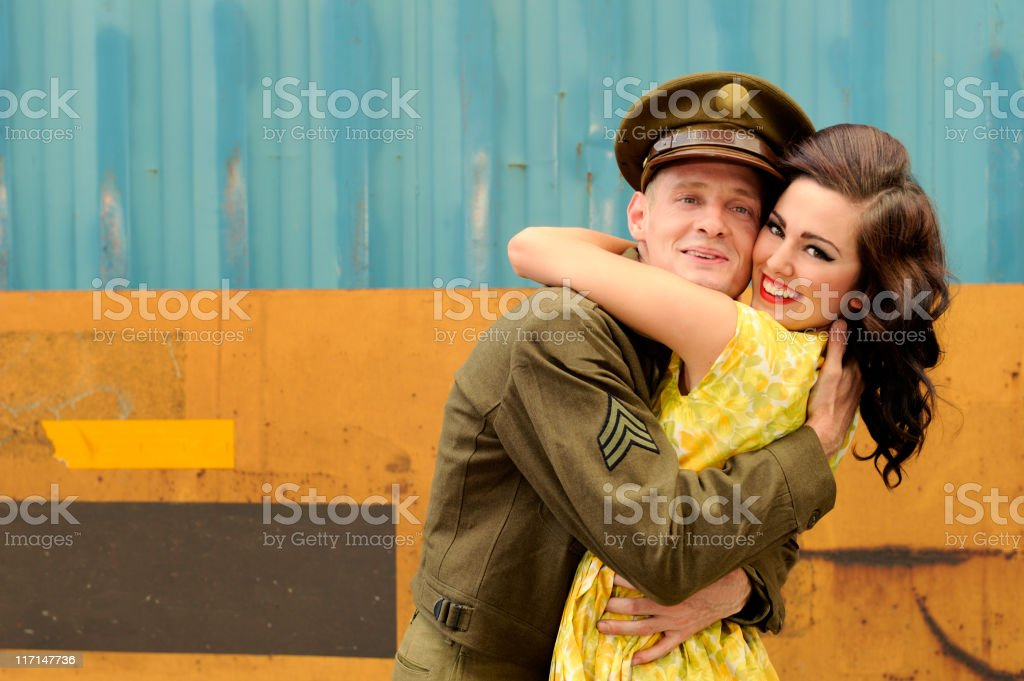 WWII Soldier On Leave And Embracing His Girl royalty-free stock photo