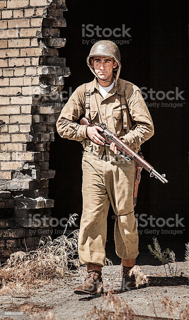 Soldier on Patrol WWII stock photo