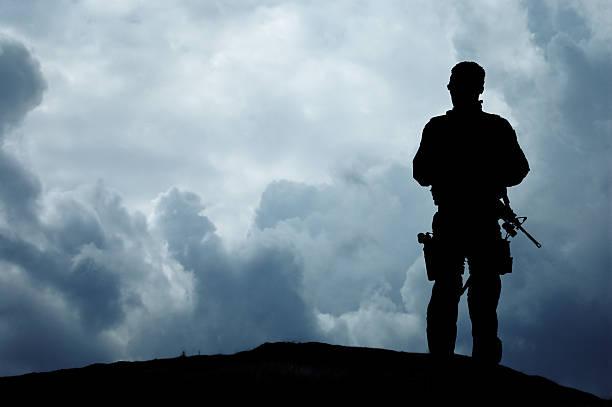 Soldier Overlooks the Horizon stock photo