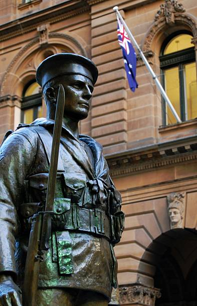anzac soldier - war memorial stock pictures, royalty-free photos & images