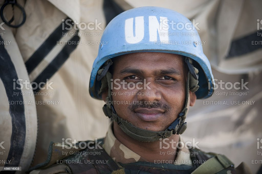 UN soldier stock photo