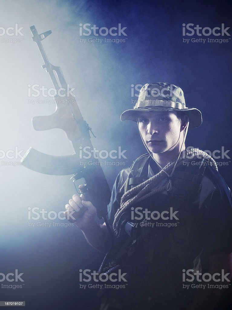 Soldier ready for combat royalty-free stock photo