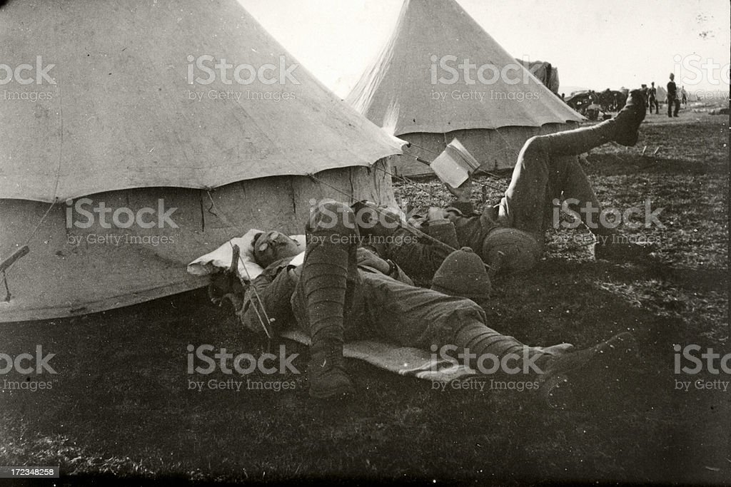 Soldier relaxing stock photo