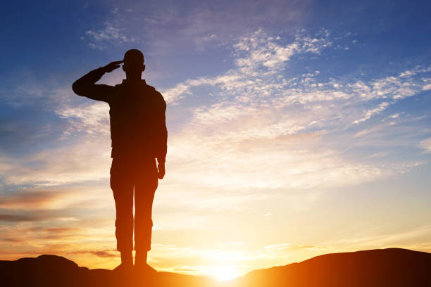 soldier salute. silhouette on sunset sky. army, military. - armed forces stock photos and pictures