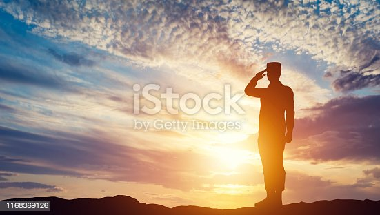 Soldier saluting. Sunset sky, sun shining. Army, salute, patriotic concept. 3D illustration