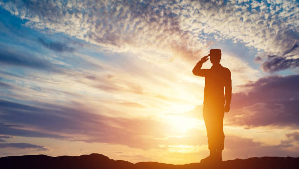 soldier saluting at sunset. army, salute, patriotic concept. - tropa imagens e fotografias de stock