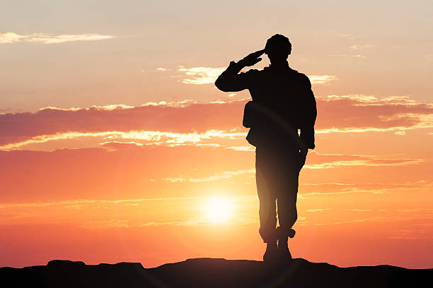 soldier saluting during sunset - armed forces stock photos and pictures