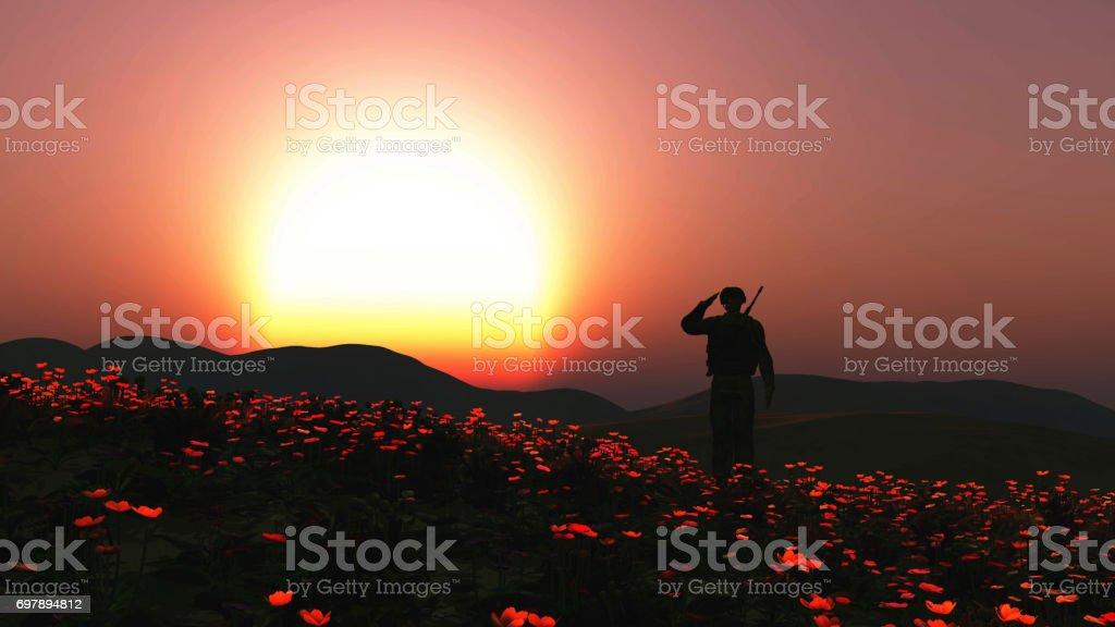 Soldat 3D, saluant dans un champ de coquelicots - Photo