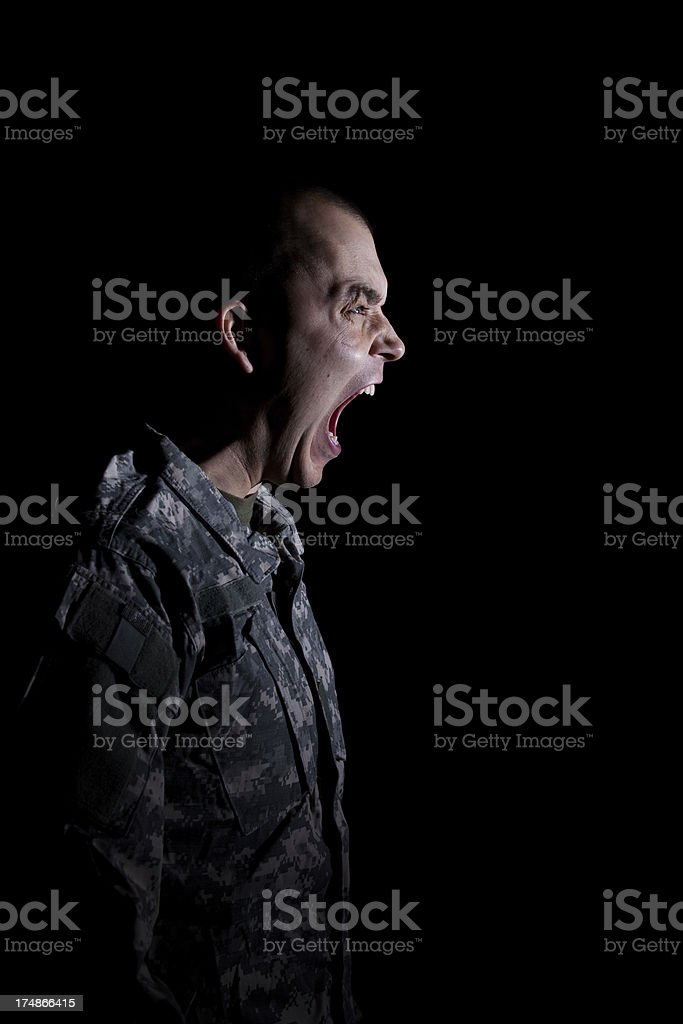 Soldier Screaming royalty-free stock photo