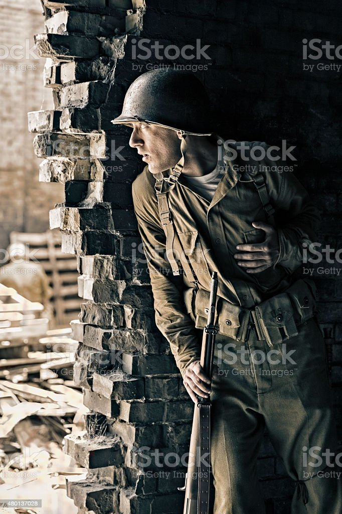 Soldier Serves as a Lookout for the Enemy stock photo
