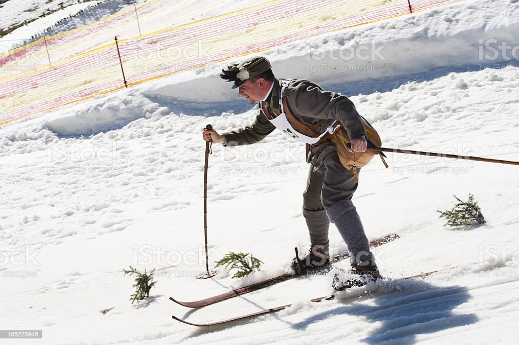 Soldier skier racing royalty-free stock photo