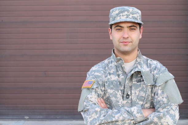Soldier smiling close-up isolated with copy space stock photo
