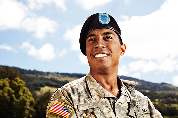 US Soldier Smiling stock photo