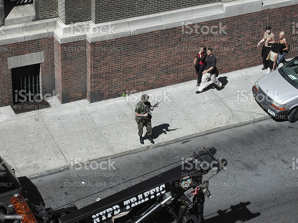 Soldier stand on guard in September 11, 2001 royalty-free stock photo