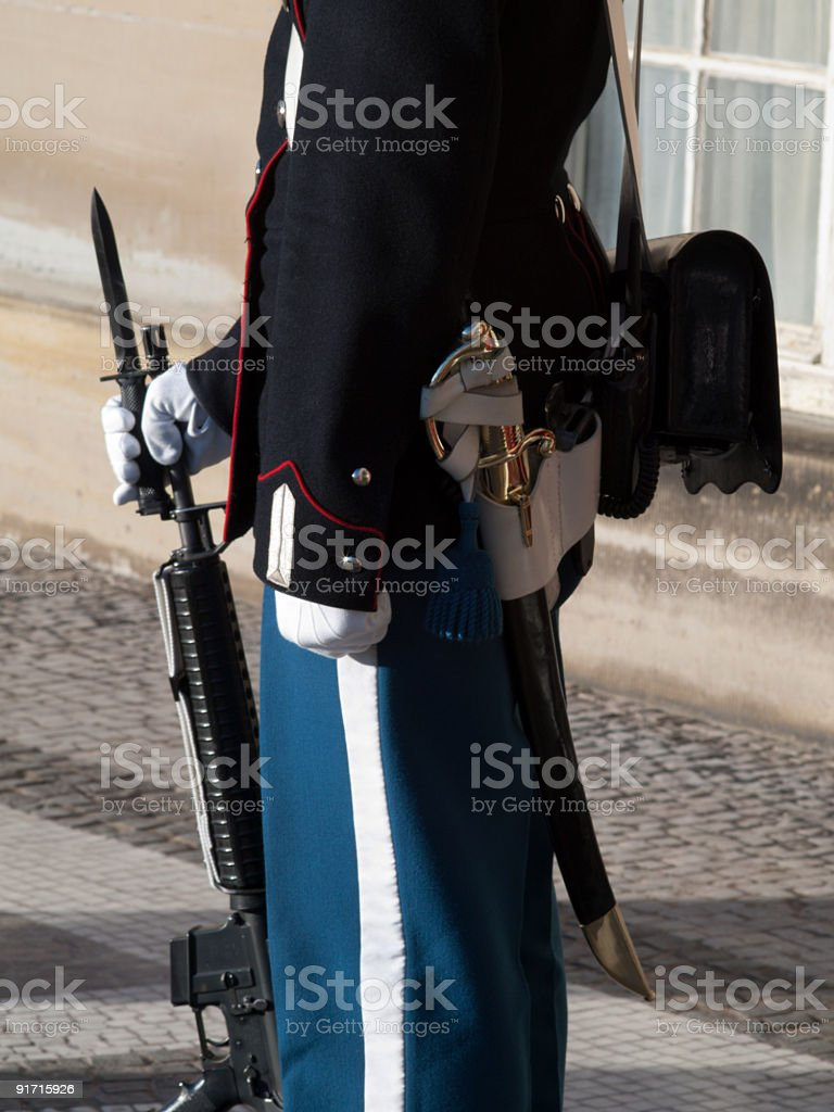 Soldier standing guard at Amalienborg Palace, Denmark royalty-free stock photo