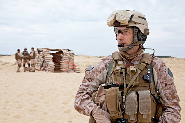 soldier standing in the desert - marines stock photos and pictures