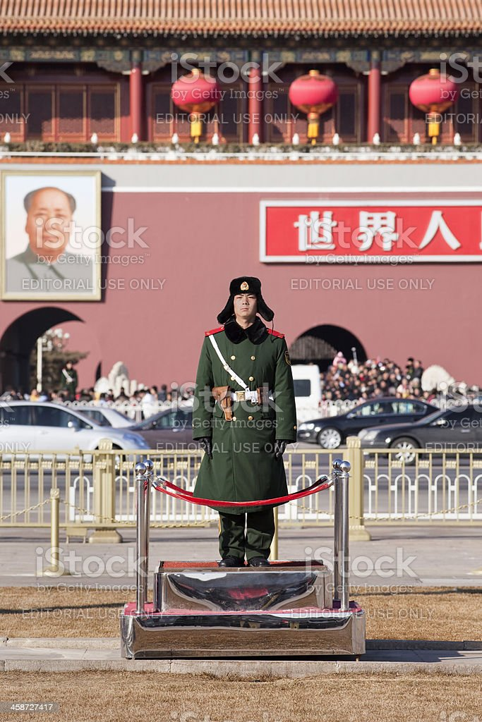 Soldier stands guard at Tiananmen royalty-free stock photo