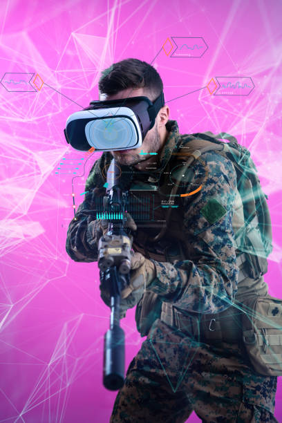 Soldat mit Virtual-Reality-Headset rosa Hintergrund – Foto