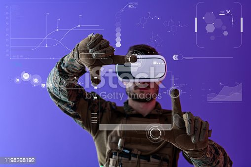 modern warfare futuristic soldier using virtual reality glasses on purple background  as concept of artificial intelligence on Hud screen display