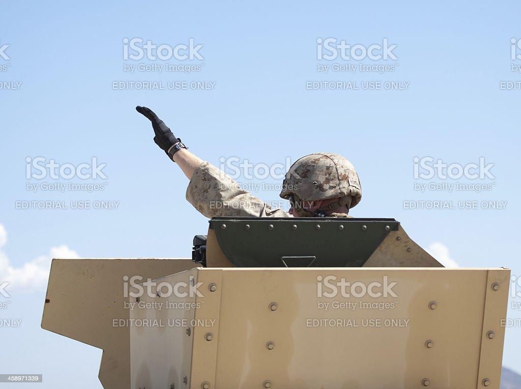 Soldier Waving stock photo