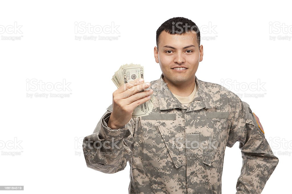 Soldier with cash stock photo
