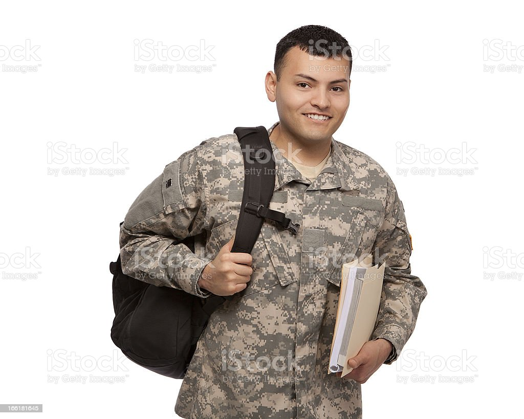 Soldier with documents and backpack royalty-free stock photo