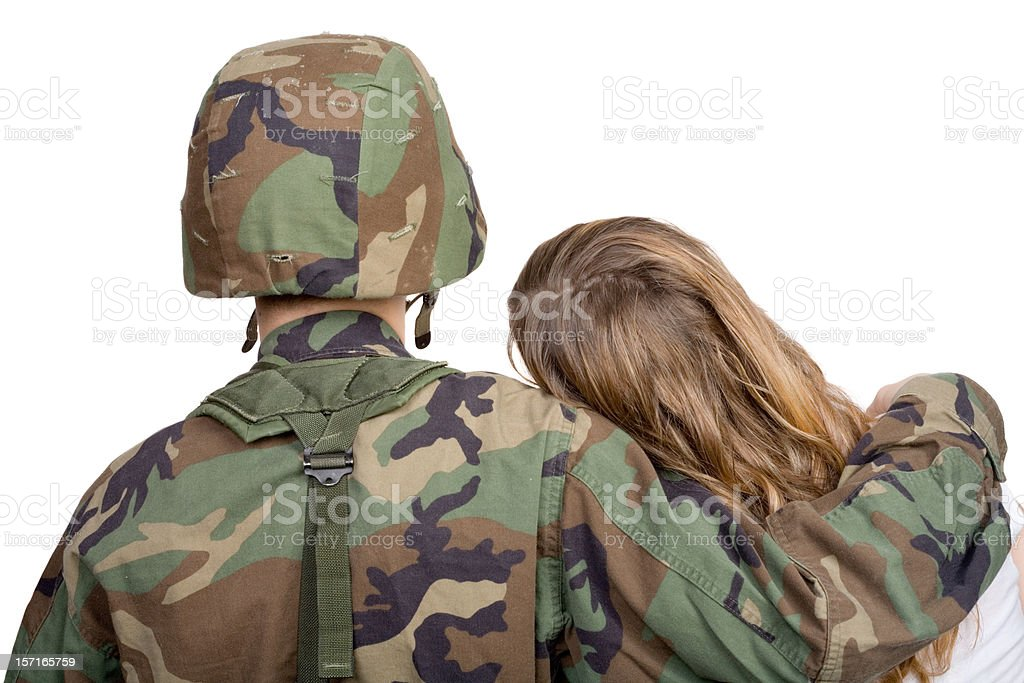 Soldier with girlfriend royalty-free stock photo