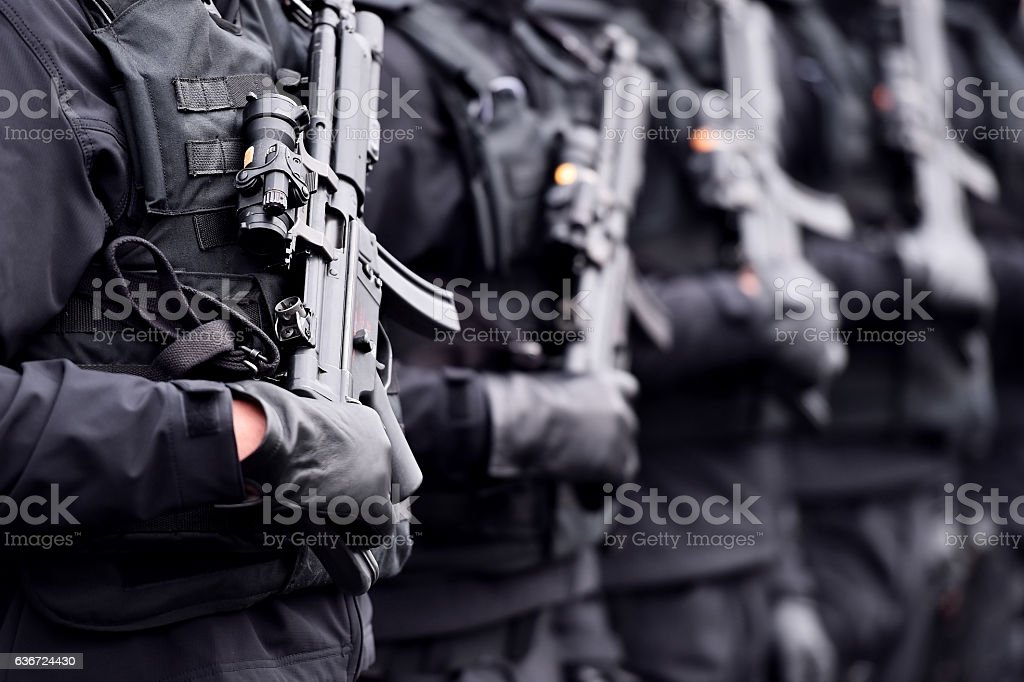 Soldier with machine gun during military parade stock photo