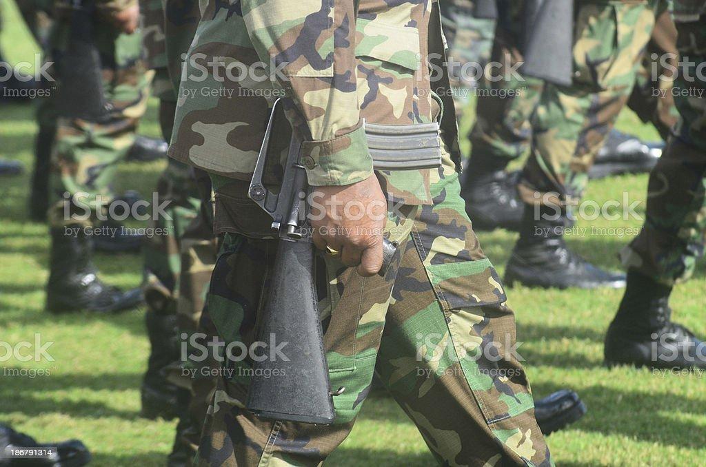 soldier with machine gun stock photo