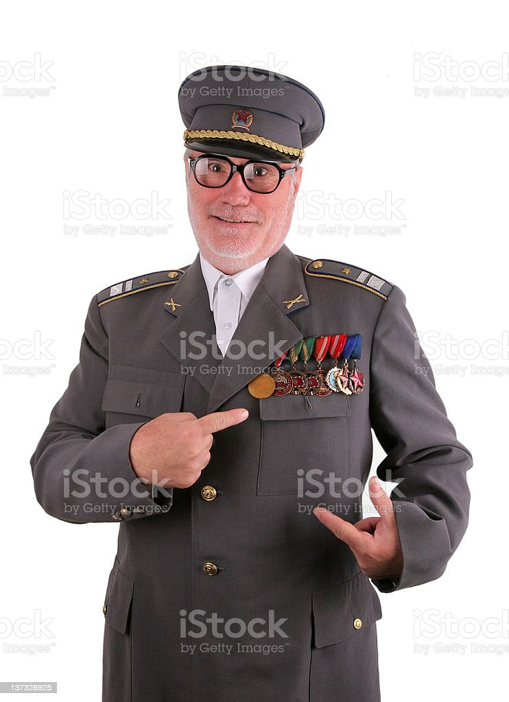 Soldier with medals stock photo