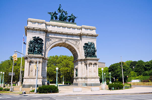 Soldiers' and Sailors' Arch at Grand Army Plaza in Brooklyn stock photo