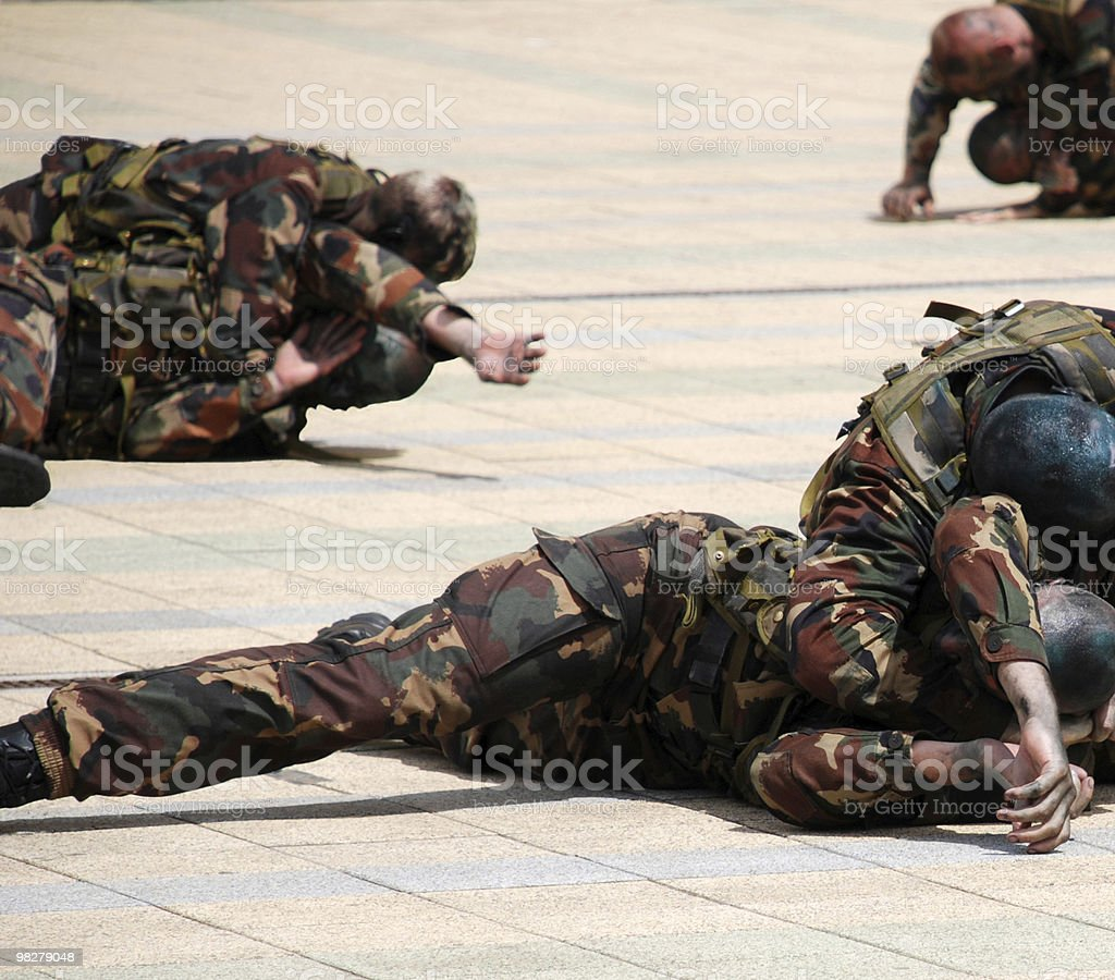 soldiers are fighting at a military show royalty-free stock photo
