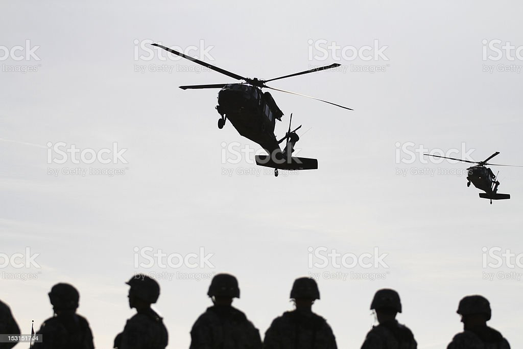 Soldiers Await Blackhawk Pickup stock photo