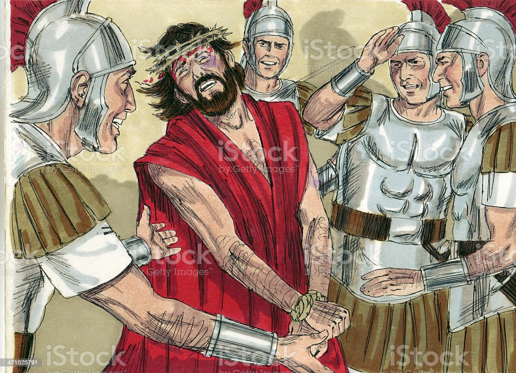 Soldiers Beating Jesus stock photo