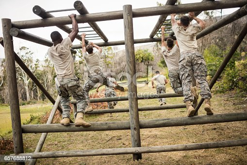 Rear view of soldiers climbing monkey bars