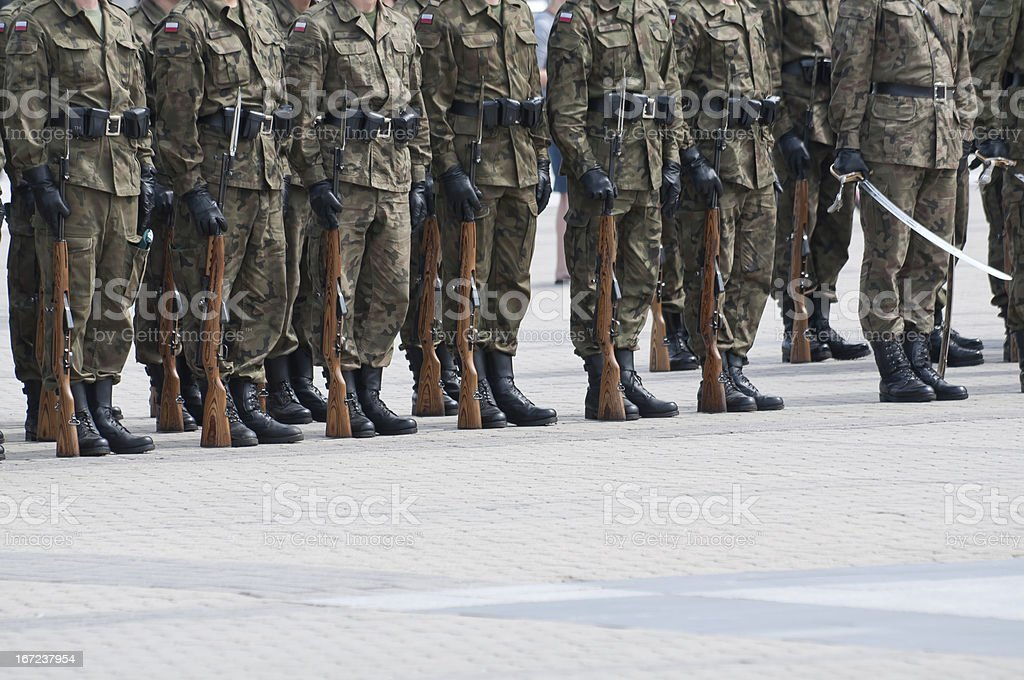 soldiers during the drill on square royalty-free stock photo