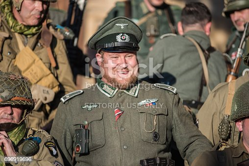 Belorado, Spain - May 6, 2017: soldiers during World war 2 reenactment,  Military historical reconstruction of the battle of Salerno 1943, on May 6, 2017 during Expohistorica festival in Belorado, Burgos, Spain.
