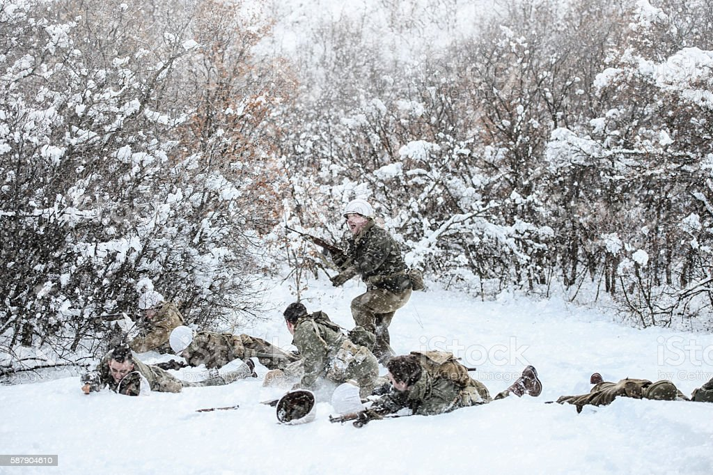 WWII Soldiers Engaged In Battle - Photo