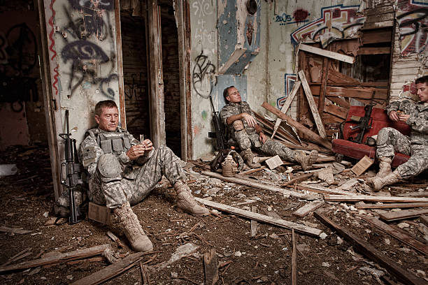 Soldiers Enjoy a Little R&R stock photo