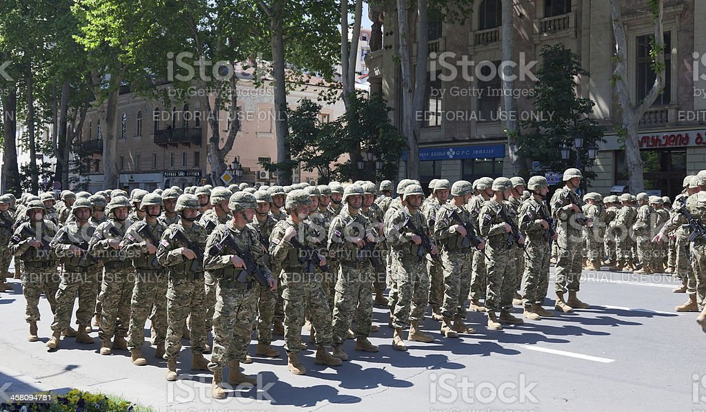 Soldiers getting ready for military parade. Tbilisi. Georgia. royalty-free stock photo