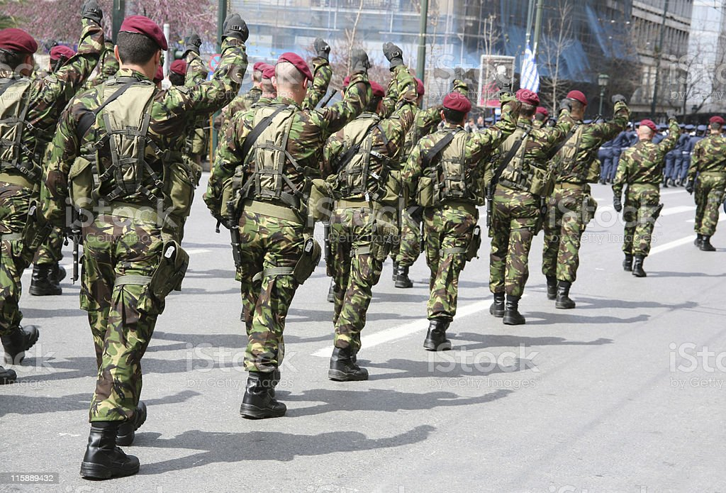 Soldiers in a parade stock photo