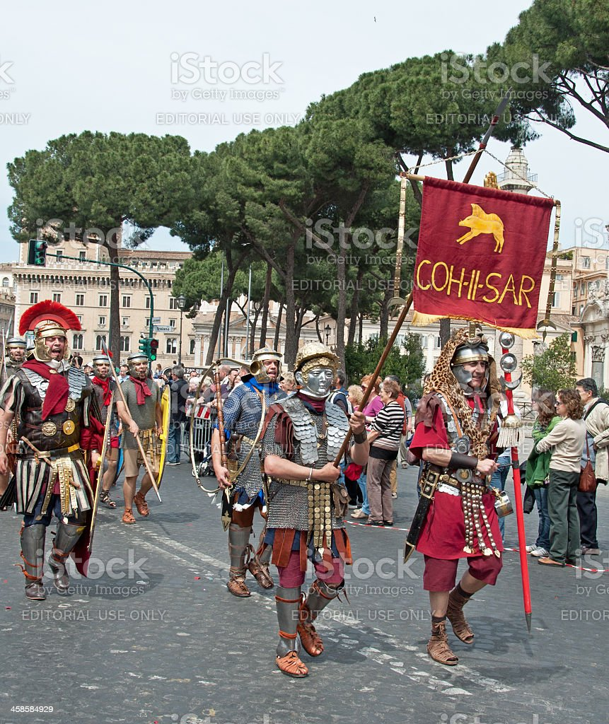 Soldiers in a Roman Parade royalty-free stock photo