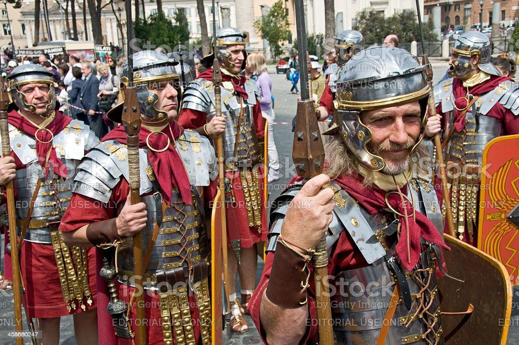 Soldiers in a Roman Parade stock photo