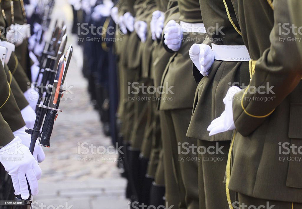 Soldiers in a row royalty-free stock photo