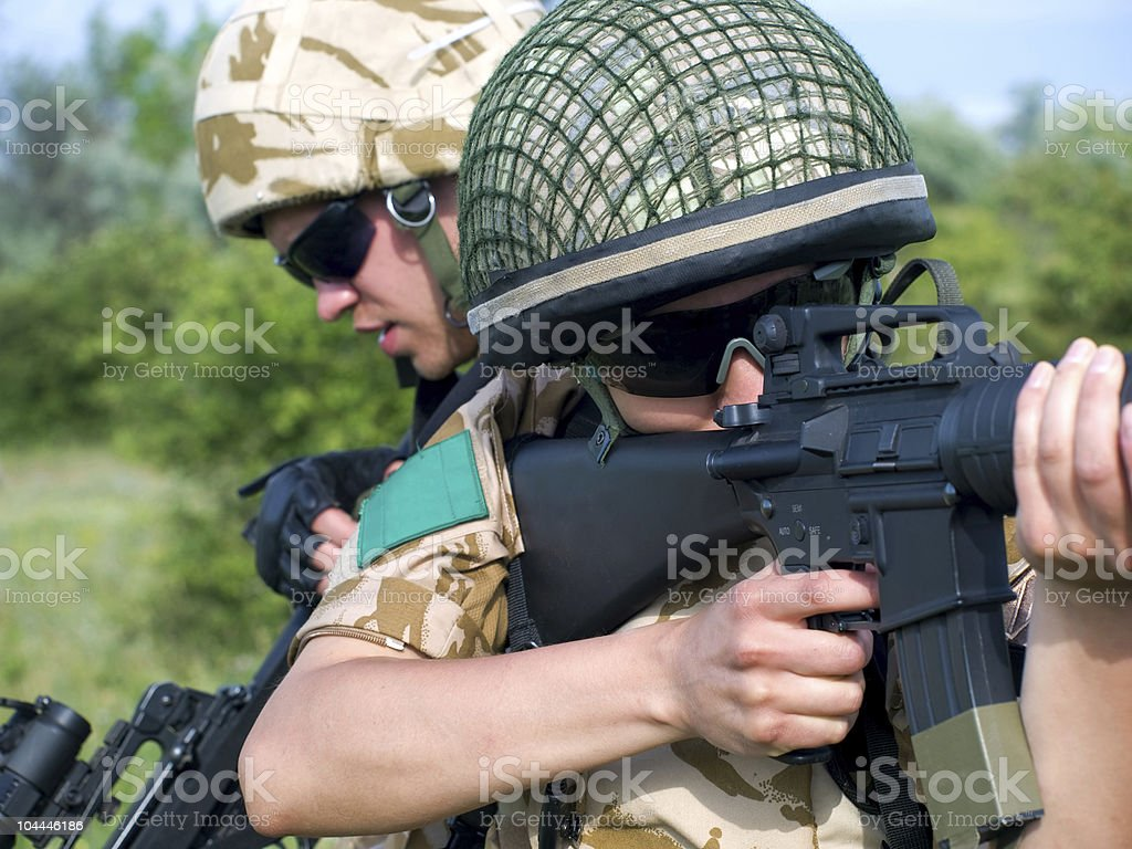 soldiers in action royalty-free stock photo