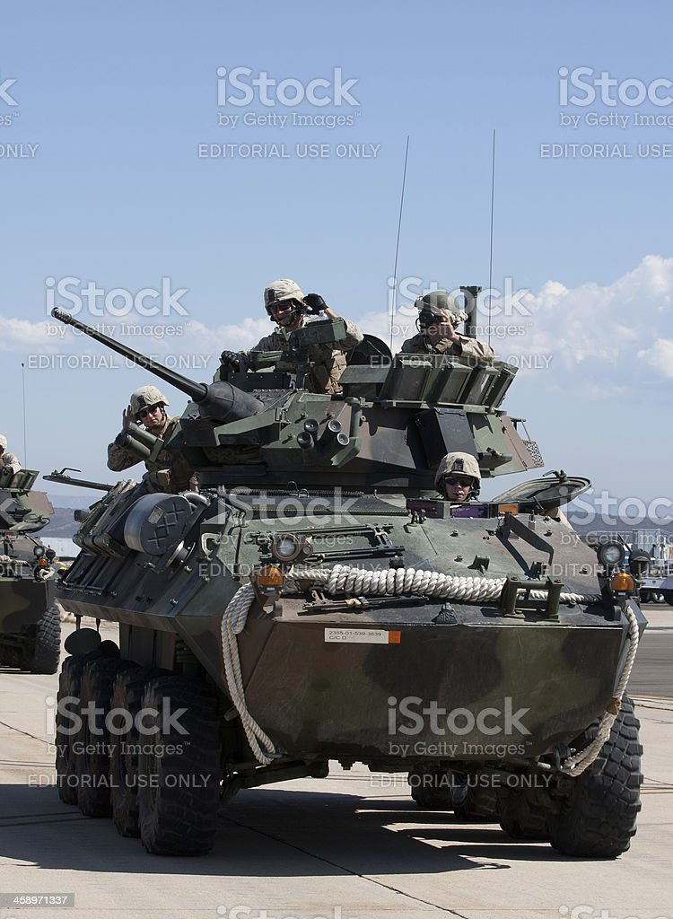 Soldiers In Armored Vehicle royalty-free stock photo