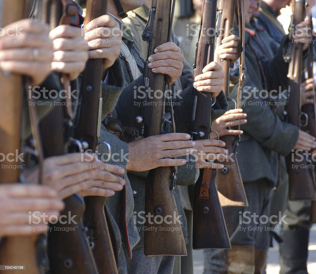 Soldiers in arms royalty-free stock photo