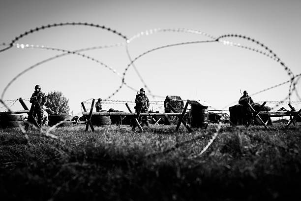 Soldiers in army camp stock photo